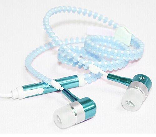 Fengge Écouteur à écouteurs lumineux à fermeture à glissière - Bleu