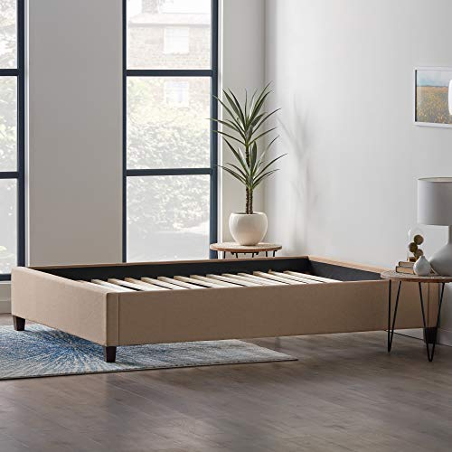 LUCID Upholstered Bed with Slats – Linen Inspired Fabric – No Box Spring Required – Compatible with Adjustable Bases Platform, Full, Beige