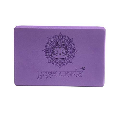 Yoga World EVA Yoga Blocks Ladrillos de Pilates elásticos Antideslizantes de Alta Densidad, Redondeados para un Agarre Seguro, Accesorios de Ejercicio fáciles, 180 g (Infinity Purple)