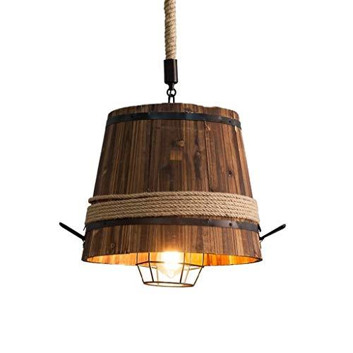 candelabro LQ Lámpara de la Vendimia de Madera Cuerda Barril Pendiente de la luz Loft Cáñamo Industrial Creativo Nostálgico decoración de la Barra del café del Restaurante