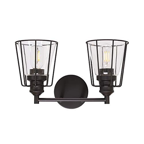 VINLUZ Farmhouse Cage Vanity Light Oil Rubbed Bronze Modern Bathroom Wall Lighting Fixture Rustic Metal Sconce Wall Mounted Lamp Clear Glass Shade for Stairway Porch Restaurants Kitchen