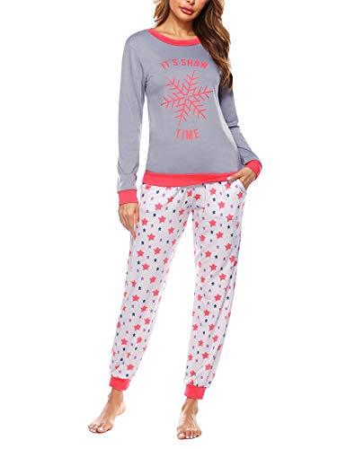 Doaraha Pijama Mujer Invierno Suave Cómodo Conjunto Pijamas Algodón Ropa de Dormir Manga Larga Camiseta y Pantalones Copo de Nieve de Navidad Estrellas Loungewear (A# Gris, L)