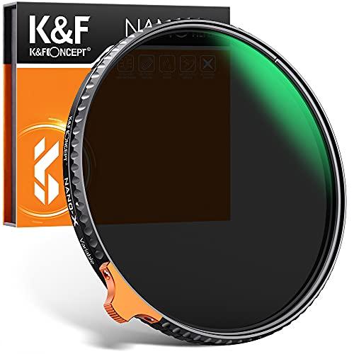 Filtro ND Variabile K&F Concept 67mm Filtro Densità Neutra Variabile ND2-ND400 (9 stops) con Anello Rotante Vetro Japan Nano-rivestimento, Resistenza ai Graffi con Finta Pelle (Nano-X)
