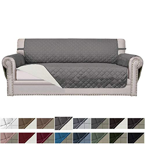 Easy-Going Sofa Slipcover Reversible Sofa Cover Water Resistant Couch Cover Furniture Protector with Elastic Straps for Pets Kids Children Dog Cat(Sofa, Dark Gray/Ivory)