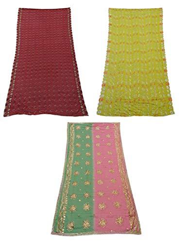 PEEGLI Ropa De Mujer Paquete De 3 Piezas Mezcla De Tela De Seda Tradicional Dupatta Indio Vintage Multicolor Tejido Artesanal Patrón De Mezcla Chunni
