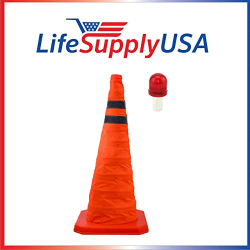 "LifeSupplyUSA Collapsible 28"" Inch Reflective Multi Purpose Traffic Cone with LED Light Lamp Topper Pop Up Road Safety Extendable"