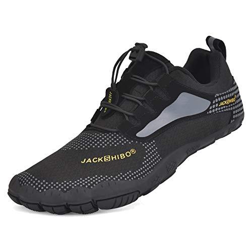 JACKSHIBO Zapatos descalzos para mujer y hombre, de secado rápido, antideslizantes, para baño, trail o fitness, tallas 36-48, color Negro, talla 47 EU