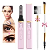 Heated Eyelash Curler, Rechargeable Electric Eyelash Curler for Women, Quick and Long-Lasting Natural Curling Make Up Tool 2021 Upgraded Version (Pink)