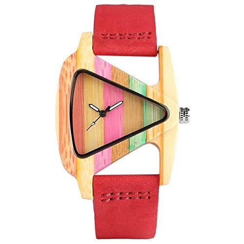 Yxxc Reloj de Madera Mujer Encantadora Reloj de Madera Lindo Color de Golpe Líneas de Arco Iris Caja de bambú Esfera Triangular Creativa Reloj de Pulsera de Madera Informal para niñas a