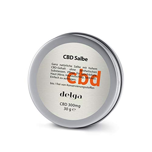 CBD Salbe Bio/Frei von Konservierungsstoffen 30g - natürliche Salbe mit hohem CBD - Hautpflegeprodukt für die geschädigte Haut (Akne, Ekzemen, Hautausschlag, Juckreiz oder sonnengebrannt)