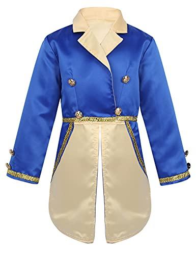 IEFIEL Disfaz de Señorito Bestia para Bebé Niño (12 Meses-6 Años) Disfraz Infantil de Principe Cosplay Halloween Carnaval Azul 3-4 años