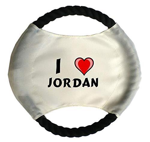 Personalisierter Hundefrisbee mit Aufschrift Ich liebe Jordan (Vorname/Zuname/Spitzname)