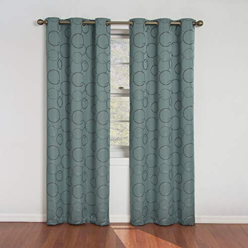 "ECLIPSE Meridian Thermal Insulated Single Panel Grommet Top Darkening Curtains for Living Room, 42"" x 84"", River Blue"