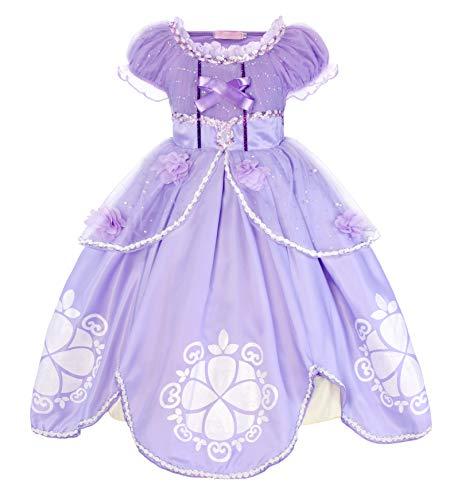 AmzBarley Mädchen Kleid Kinder Kostüm Prinzessin Kleider Party Halloween Karneval Cosplay Geburtstag, Dünn, Packung mit 1, Violett, 5-6 Jahre