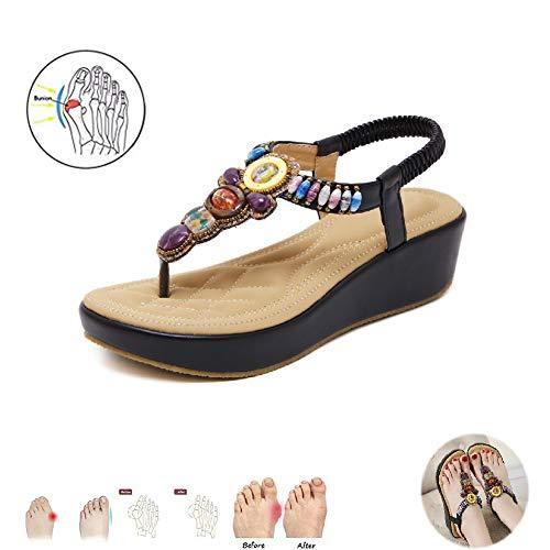 Vrouwen Summer Platform Orthotic sandalen Grote Teen Orthotic Bone Correctie Sandalen Flip Flops Boho Travel Beach Schoenen,Black,36