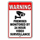 PotteLove CDYSKJCO - Señal de advertencia de metal con señal de advertencia para locales supervisados por 24 horas de videovigilancia de metal para garaje, motel parque, carretera, área pública R08