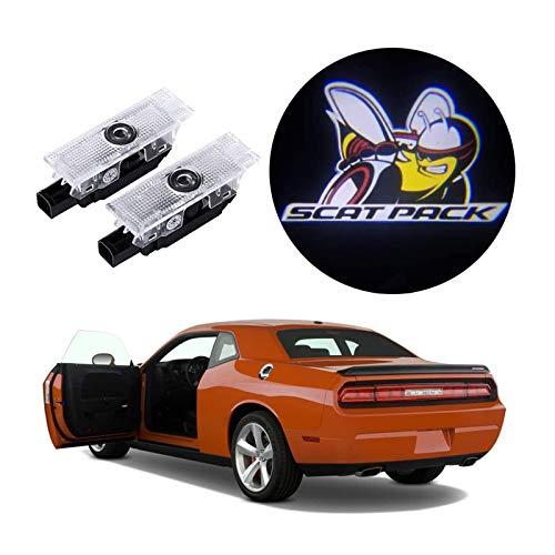 Door Light Logo for Dodge Challenger Scat Pack RT SRT SXT GT,Car Projector Lights (Super Bee Emblem for Challenger)