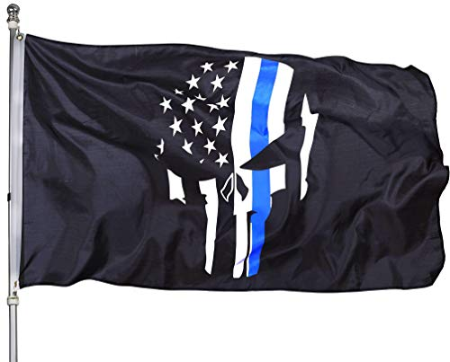 Homissor Punisher Totenkopf-Flagge, 7,6 x 1,5 cm, amerikanische Flaggen – 9 x 1,5 m, dünn, blaue Linie USA Polizei Banner
