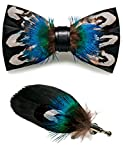 RBOCOTT Handmade Feather Pre-tied Bow tie and Brooch Sets for Men (16)