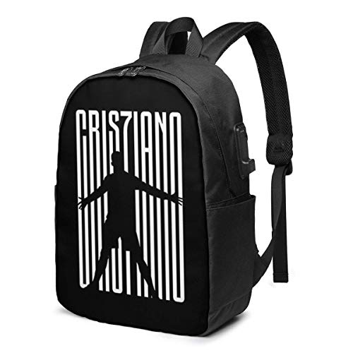 Hdadwy Cr7 USB School Backpack Large Capacity Canvas Satchel Casual Travel Daypack for Adult Teen Women Men 17in
