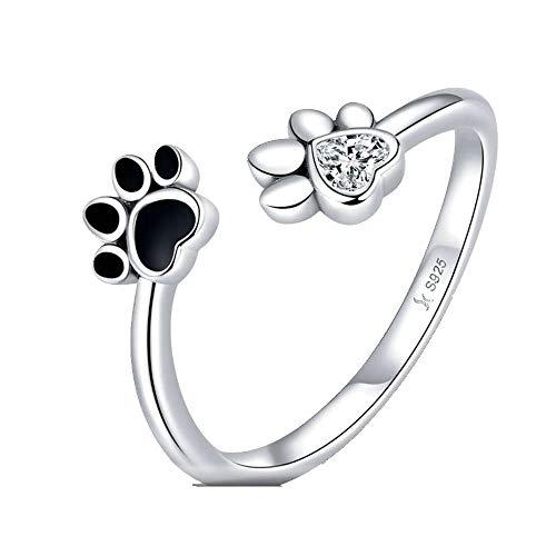 NoNo WL Ringe für 925 Schwarz Emaille Hund Pfote Offenen Einstellbare Finger Ringe für Frauen Anti-allergie Schmuck Zubehör