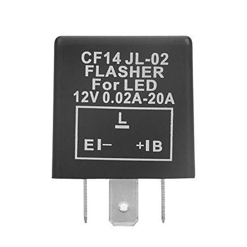 Shipenophy Intermitente LED Negro de 3 Pines 0.02A-20A 0.1-150W 12V Relé Intermitente...