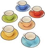 Tognana LS18534M043 Art & Pepper - Juego de 6 tazas de café con plato cc90