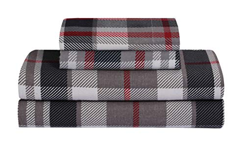 FEATHER & STITCH NEW YORK 100% Cotton Flannel Sheet Set, Deep Pocket - Warm - Super Soft - Breathable Bedding (Queen, Red Plaid)