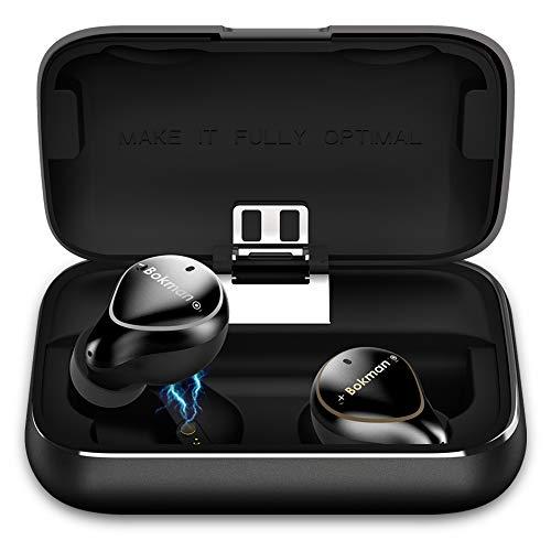 bokman Auriculares Bluetooth, O5 Plus Auriculares Inalámbricos Bluetooth 5.0 Conmutación Libre Impermeable HiFi Mini Twins Estéreo con 2600 mAh Caja de Carga Portátil para iPhone y Android (Negro)
