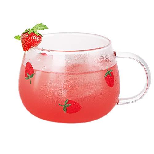 Trinkgläser, ANSUG Glas Teetasse Niedliche Erdbeer Kaffeetasse Tassen mit Griff für Cappuccino, Latte, Tee, Milch, Bier, Saft - 350ML