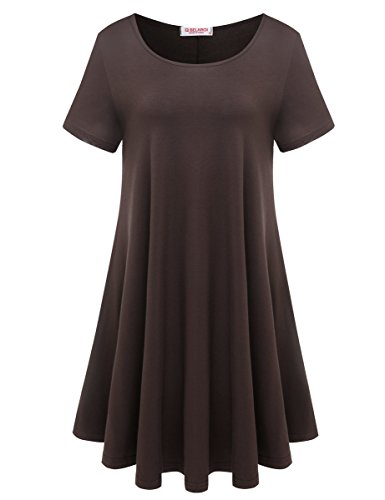 BELAROI Womens Comfy Swing Tunic Short Sleeve Solid T-Shirt Dress (2X, Coffee)
