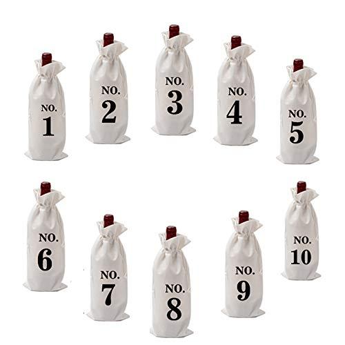 Haiabei 10 bolsas de vino de arpillera con etiquetas de cordón para cata de vino ciegas n.º 1-n.º 10 numeradas de tela de arpillera para botellas de vidrio de regalo para Navidad, bodas y fiestas