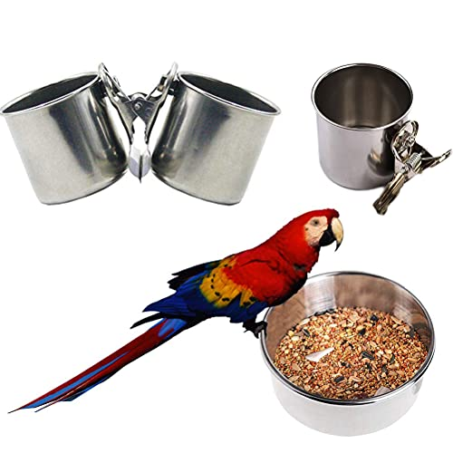 TIANTIAN 3 Pcs Bird Water Feeder Dishes Bird Bowl for Cage Coop Cups Parrot Food Hanging Pet Animal Stainless Steel Birdcage Bowls Feeding Perches Play Stand with Clamp 1.9x2.1in