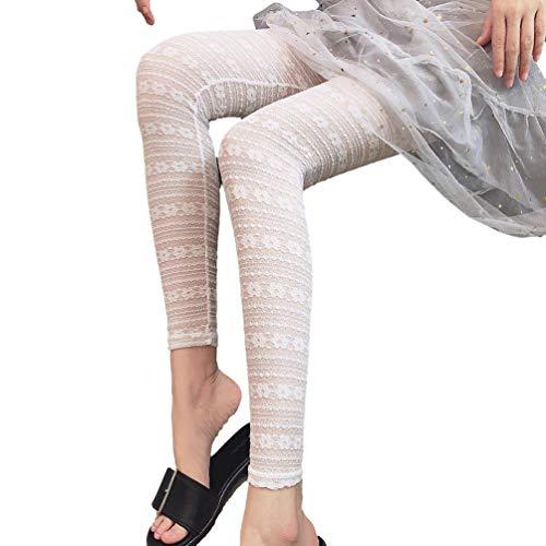 Yujeet Damen Spitzenleggings Florale Transparente Fußlose Strumpfhose Elastisch Yogahosen (Weiß, M)