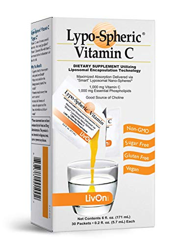 Lypo–Spheric Vitamin C – 1 Carton (30 Packets) – 1,000 mg Vitamin C & 1,000 mg Essential Phospholipids Per Packet – Liposome Encapsulated for Improved Absorption – 100% Non–GMO