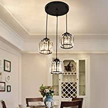 Kristallen hanglamp met 3 lampjes, moderne K9 kristallen hanglamp voor keukeneiland, eetkamer, bar, café, loft, balkon, tr...