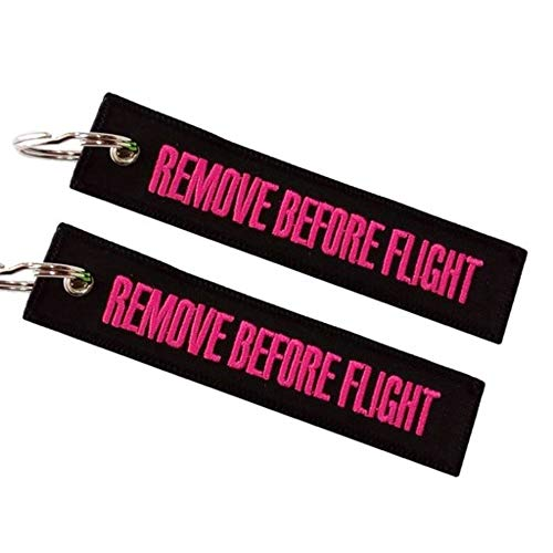 Remove Before Flight portachiavi doppia faccia nero-rosa (1 pz)