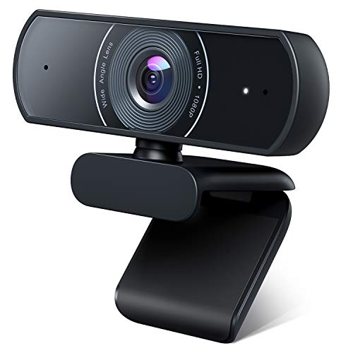 Roffie 1080P Webcam, Dual Stereo Microphone PC Camera, Full HD Video Camera for Computers PC Laptop Desktop, USB Plug and Play, Conference Study Video Calling