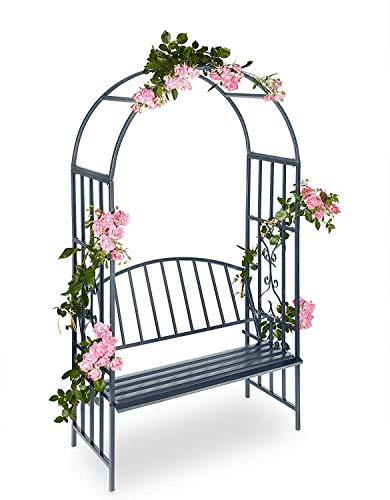 N&O Casa de renovación Jardín al Aire Libre Soporte de Flores Pantalla de Metal a Prueba de óxido con Arco de Asiento balcón balcón sillón Soporte de Flores Marco de Escalada