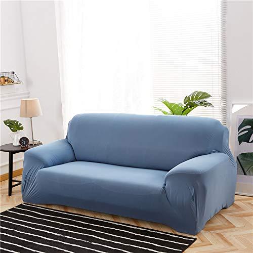NOBCE Funda de sofá elástica de Color sólido para Sala de Estar Funda de sofá de Esquina seccional de Estilo en L elástica Universal Fundas de sofá Gris Azul 145-185CM