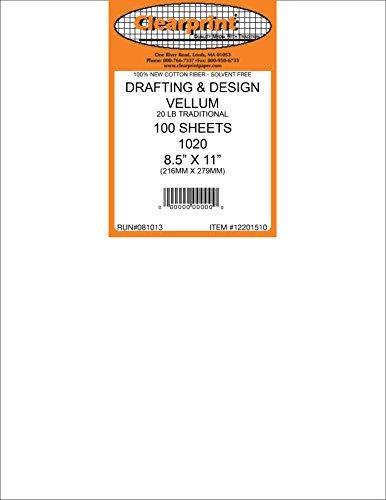 Clearprint 1000H Motif vélin Feuilles, 16 pesant, 100% coton, 8–1/5,1 x 27,9 cm, 10 Feuilles par lot, Blanc translucide, 1 chaque (10201210) 8.5 x 11 Inches/100 sheets