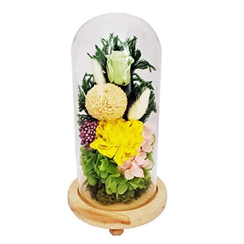 プリザーブドフラワー仏花 お供え花 お仏壇用 ガラスドームアレンジメント C20030L 羽衣(はごろも)