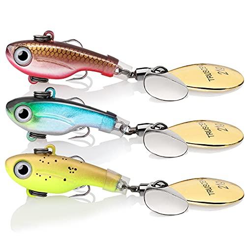 TRUSCEND Señuelos Pesca Cucharillas para Lubina Lucio Carpa, Pesca Accesorios, Spinner Cebos Pesca Truchas Señuelos, Kit de Pesca