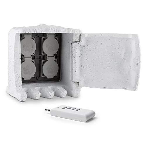 Waldbeck Power Rock Remote Stone Edition - Toma de Corriente, Enchufe de jardín, 4 Conexiones exteior, Cable 1,5 m, Clase de protección IP44, Resiste al Agua, Control Remoto, Diseño Piedra