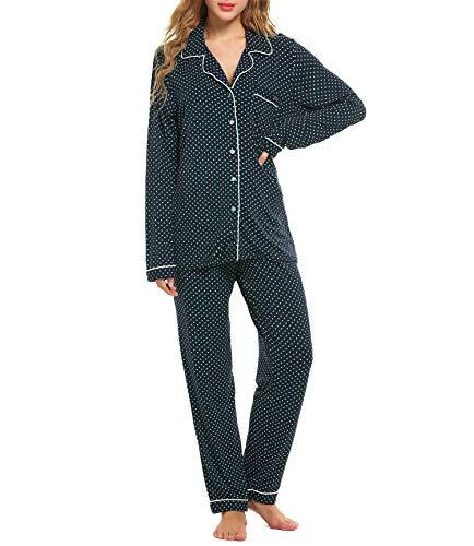 Lucyme Damen Pyjamas Set Elegant Modal Langarm Schlafanzug mit Knopfleiste Zweiteiliger Lang Nachtwäsche Sleepwear XS-XXL, Blau/Grün, EU 42(Herstellergröße: L)