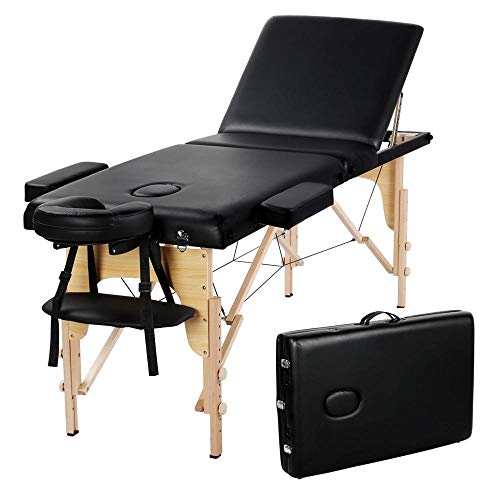 Yaheetech 84inch Portable Folding Massage Table Facial Salon SPA Bed With Carry Case, 3 Fold, Extra Wide, Black.