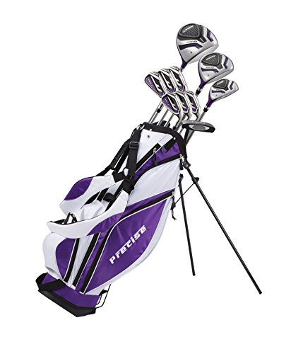 Precise Premium Ladies Womens Complete Golf Clubs Set Includes Driver, Fairway, Hybrid, S.S. 5-PW Irons, Putter, Stand Bag, 3 H/C's (Purple, Right Hand Petite Size -1')
