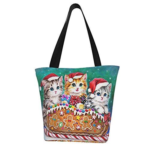 Süße Katze Keks Schlitten Lebkuchenmann Weihnachten Themed Bedruckte Frauen Canvas Handtasche Reißverschluss Schultertasche Arbeit Büchertasche Tote Geldbörse Freizeit Hobo Tasche zum Einkaufen
