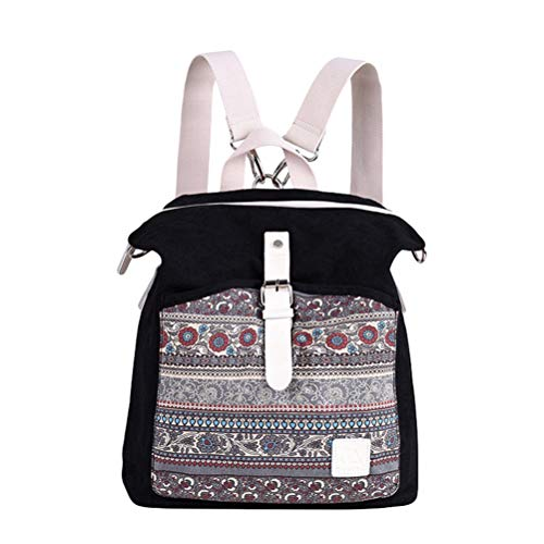 N/A Casual Canvas Backpack for Womens Boho Messenger Bag Girls School Rucksack Bookbag Travel Daypack - Black, 30 * 13 * 38cm