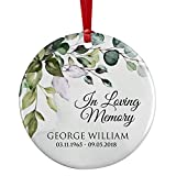 in Loving Memory, Personalized Memorial Christmas Ornament w/ Name & Dates, Sympathy Gift, Loss of Loved One, Mom, Dad Ornaments - in Memory of Loved One - Ceramic D#4